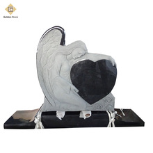 Hot selling polished black angel heart headstone monument tombstone