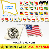 Free Mold Fee Flag Shaped Custom Country Flag Screen Printed Lapel Pins