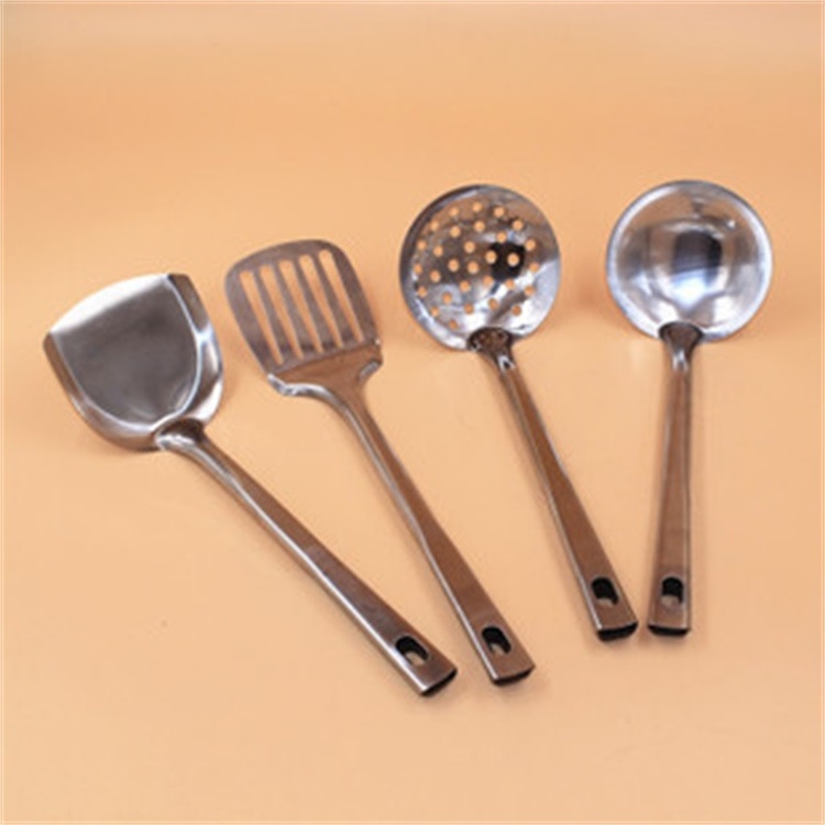 New 4Pieces Stainless steel Spoon Spatula Kitchen Utensil Wooden Cooking Tool Mixing Set