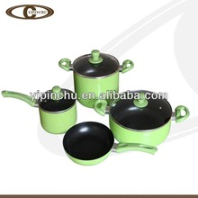 7pcs non-stick cookware set casserole frypan saucepan with lid