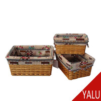Good outlook rectangular willow storage basket wicker woven packaging baskets with liner H-16139