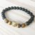 SN0700 Unisex Lion Bracelet Tiger Eye Matte Onyx Beaded Stretch Yoga Mala Bracelet