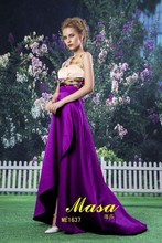 Designer one piece party dress purple combination dresses asymmetrical skirts long satin printed evening dress 2015 new arrival