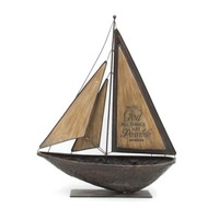 Metal/Wood Craft Standing Model Boats Tabletop Figurine, Antique Nautical Sailboats Gift