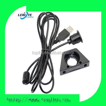 Flush Mount USB Female Extension Cable Lead Mounting Panel Car Dashboard USB