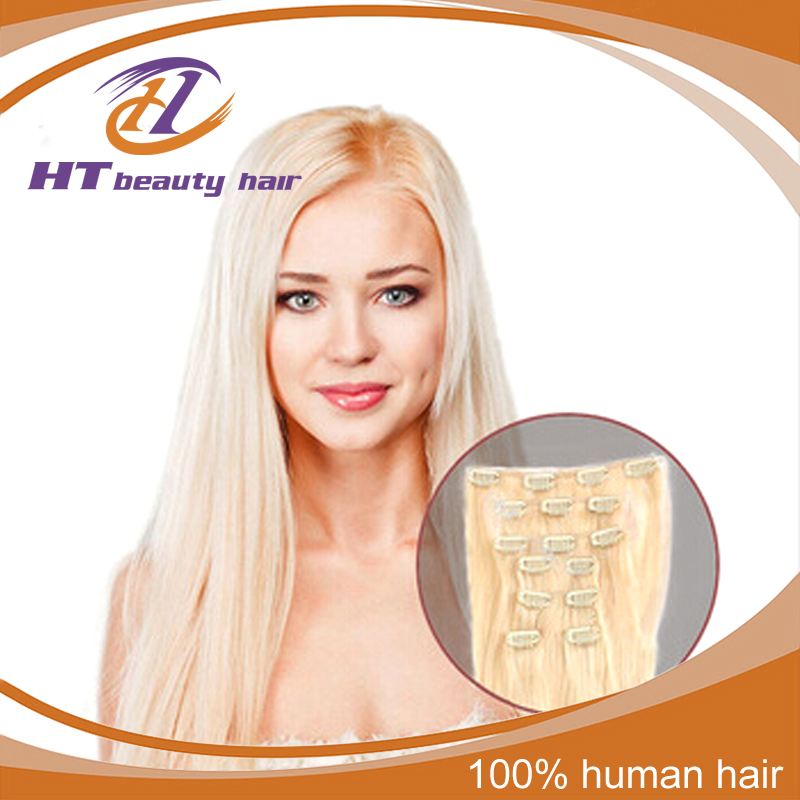 Full Head Clip in Human Hair Extension 613 Bleach Blonde Color Clip On Human Hair Extension