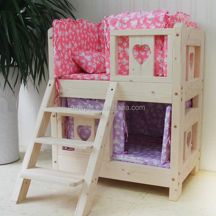 Custom wholesale fashionable best two layers wooden dog bed shelter painted wooden dog house