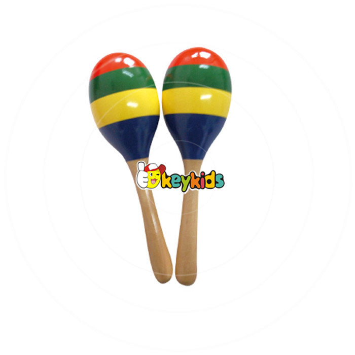 2017 Wholesale toy musical instrument wooden baby maracas educational wooden baby maracas for sale W07I050