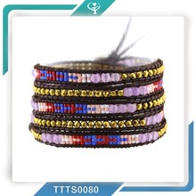 2015 Miyuki seed beads&4mm Semi-precious stones High Quality Leather 5 Wrap fashion leader jewelry