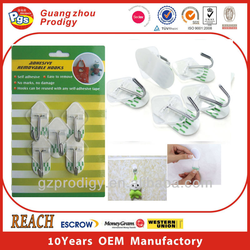 Self adhesive removable plastic j hook