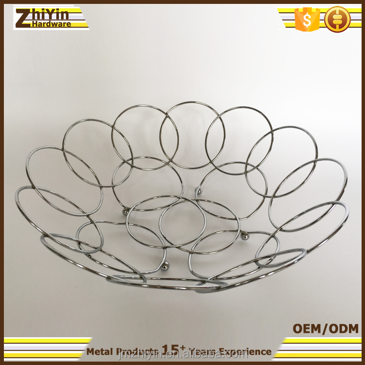 The best decorative silver chrome metal wire fruit basket tray wholesale