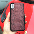 New case for iphone x luxury cell phones case real leather snake skin wholesale