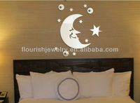 adhesive removable moon & stars acrylic crystal mirror decorative wall stickers