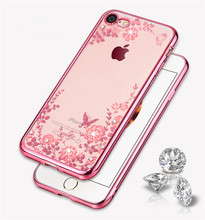 Electroplated Flowers TPU Cases with Hole For iPhone 7 Plus 6 6S Galaxy