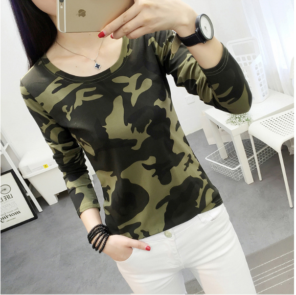 Fashion Women Camouflage Tshirt Cute Child Printed Tee Shirt Femme Long Sleeve Spring Tops Creative