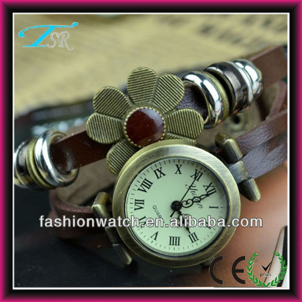 Vintage vogue long leather bracelet watch with flowers