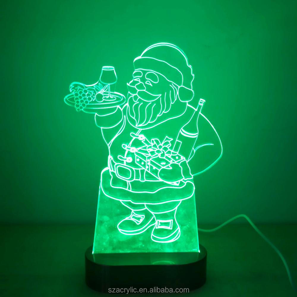 Green acrylic Santa Claus 3D LED light acrylic Christmas decoration