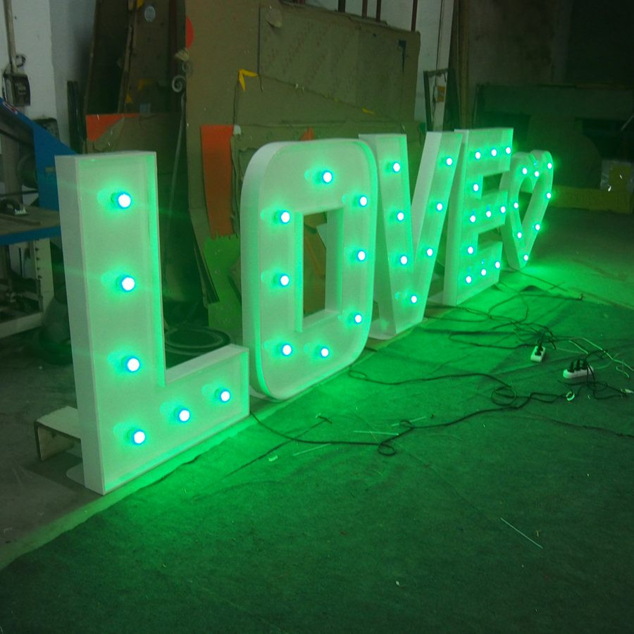 Top quality White Side RGB Marquee Letters Love Signs for wedding using