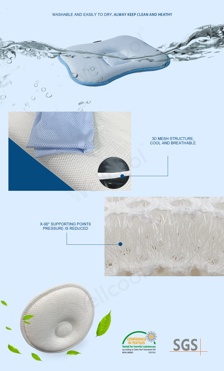 Light Blue Anti Roll Pillow in Ps Shape