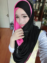 new styles jersey cotton muslim hoody hijab with rhinestones HW031a