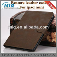 Restore style book leather case for ipad mini, for mini ipad case