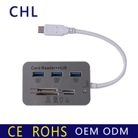 7 in 1 USB 3.1 Type C To 3 Port USB 3.0 Hub Combo MS DUO MicroSD SD M2 TF Card Reader for Macbook 12 Inch 13 Inch-TC12