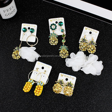 New Korean Fashion Summer Personality Crystal Diamond Fruit Earrings,925 Silver Plated Dangle Earrings
