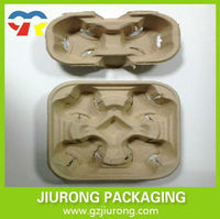 Environmental protection paper cup holder 2 Or 4 Cavity Paper Pulp Cup Tray made in China