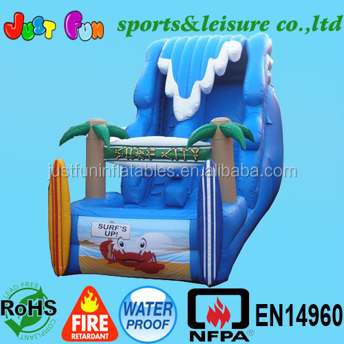 inflatable hippo slide with wave shape,18ft inflatable surf slide,inflatable water slide