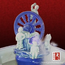 Fountain style blue and white pottery humidifier for home decor made in China