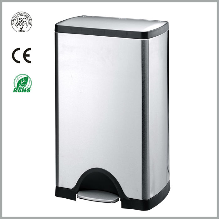 stainless steel square pedal dustbin 30L
