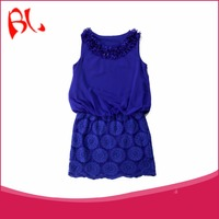 Korean Style Navy Floral Pattern Blue Lace Party Dress