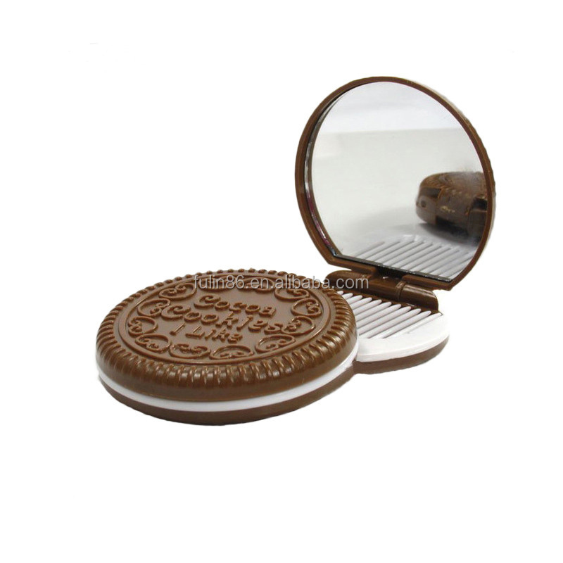 led make up mirror,new cute cookie shaped portable compact make up mirror with comb