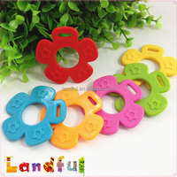 Mixed Color Cute Safety Plastic Baby Toy Silicone Flower Teether