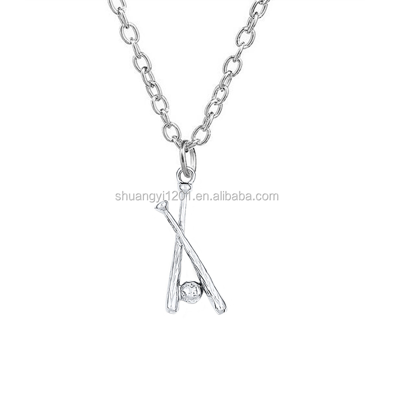 Wholesale alloy metal charms hockey with hockey stick pendant link necklace