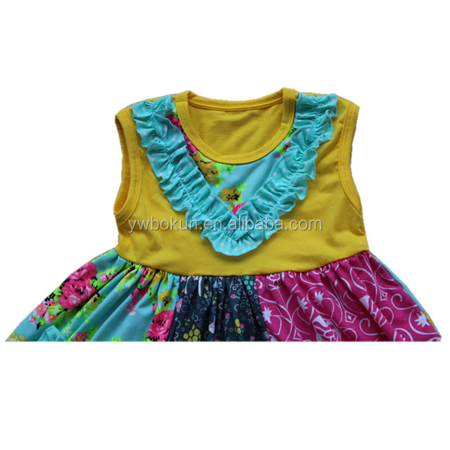 Newest boutique girls outfit lovely baby tunic dresses floral ruffle top and capri pants set for summer children wear