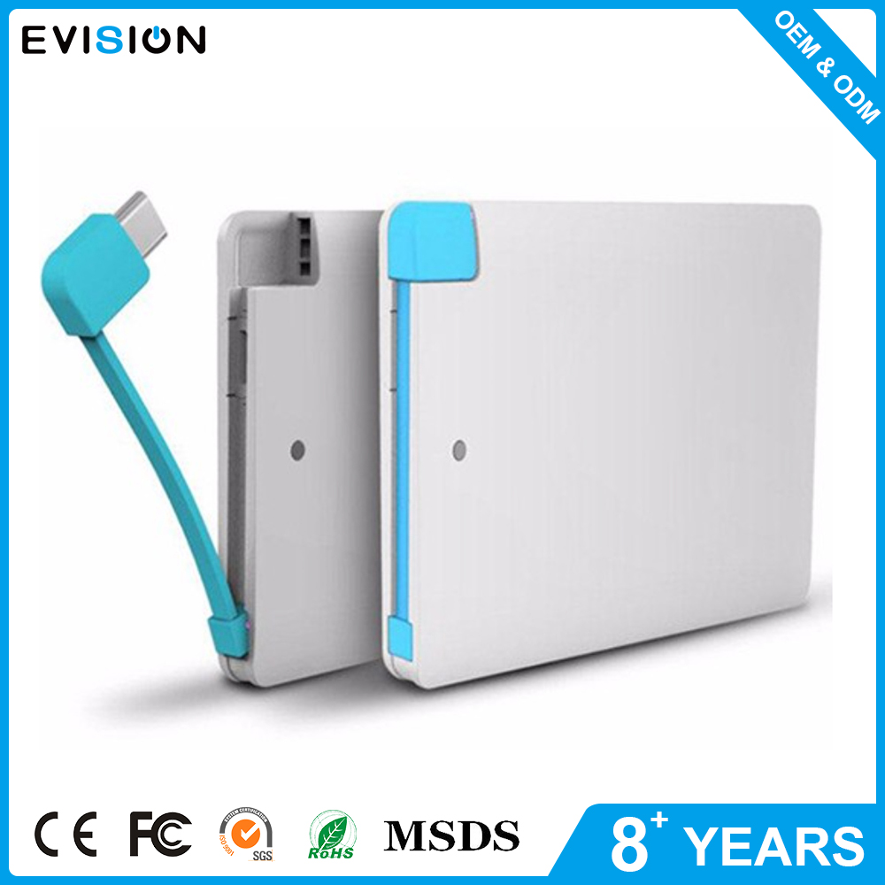 Slim Thin Mobile Charger Credit Card Power Bank 2600Mah For Iphone Android