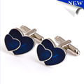 Double Heart Shaped Men Shirt Cufflinks Wedding