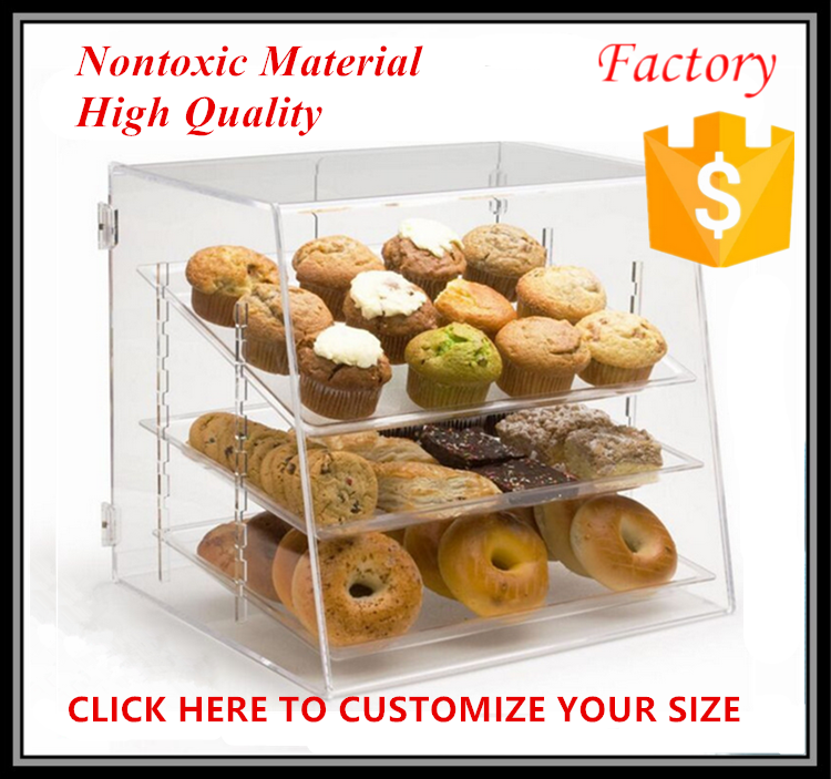 Counter top acrylic cupcake stand case bakery display cabinet