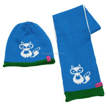 Cold Weather Hat And Scarf Acrylic Jacquard Cartoon Animal Knitted Hat Scarf Set