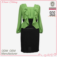 office lady dress design green ruffle top black wrap skirt slim fit ladies dress suit for career lady