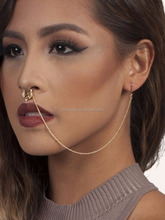 2016 fashion fake non piercing nose ring with earring chain wholesale indian jewelry