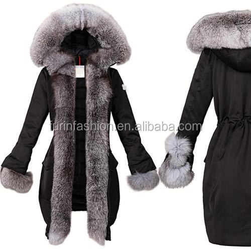 2017/2018 Fashion Women Winter Real Fur Parka with Fur Collar
