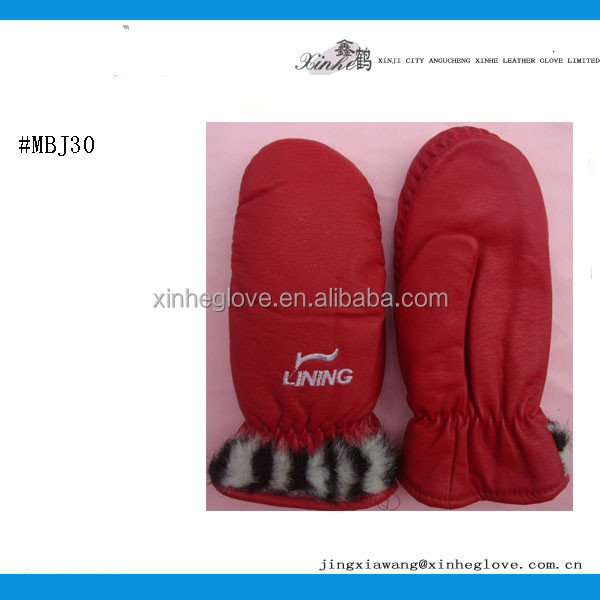 Factory supply red warm cotton glove