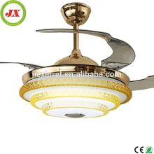 Luxury Crystal Ceiling Light LED Gold Living Room Fan Light with Lamp Fan