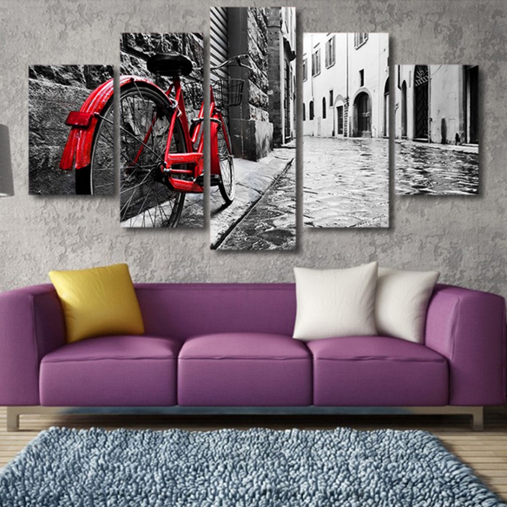 Retro Black and White Decor <strong>Art</strong> 5pieces canvas wall <strong>art</strong> prints hotel and home decoration artwork