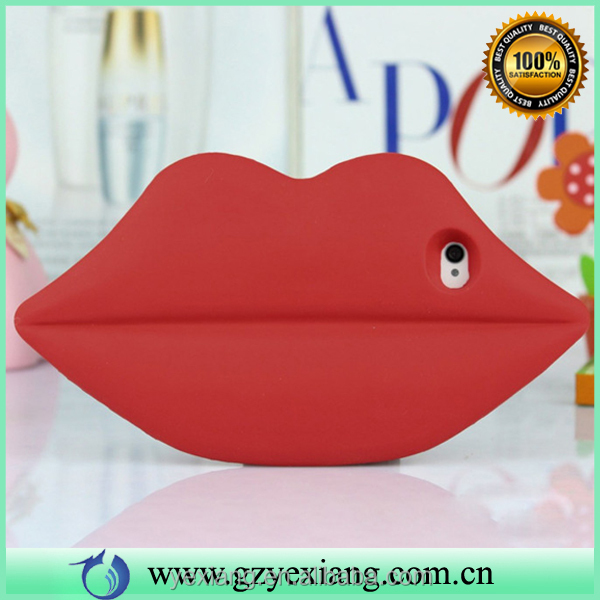 High quality 3d sexy red lips silicone gel rubber protective case cover for iphone 5 case