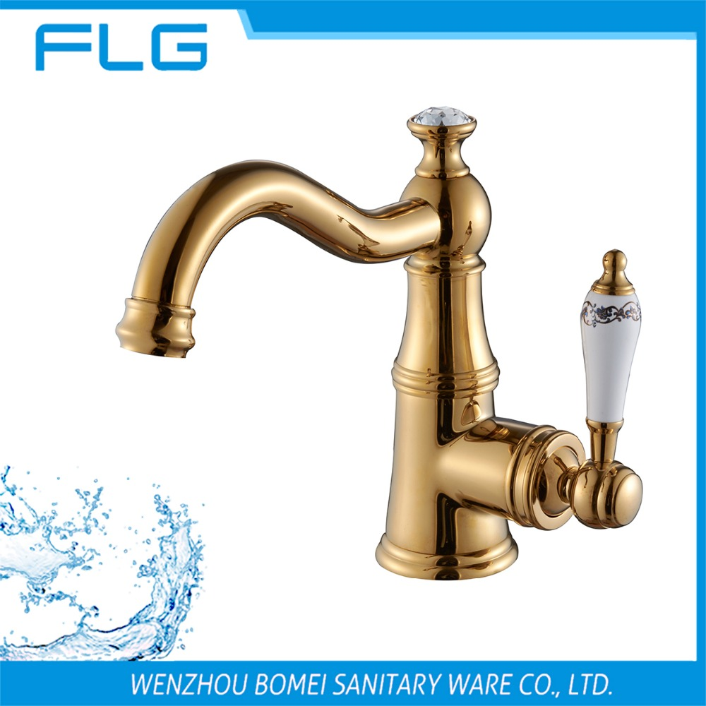 Factory New Product Gold Long Swivel Curved Spout Basin Bathroom Faucet FLG100049