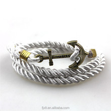 Hot Sale European and American Navy Style Woven Anchor Nautical Rope Bracelet with Arrow Shape