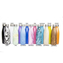 17 Oz (500 ml) Vacuum Insulated Marble Stainless Steel Cola Shape Travel Sports Water Bottle